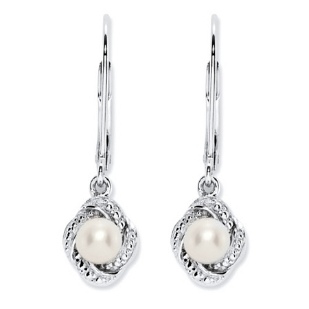 Genuine Freshwater Cultured Pearl and Diamond Accent Scalloped Halo Drop Earrings with Lever Backs in Antiqued .925 Sterling Silver (4mm) at PalmBeach Jewelry