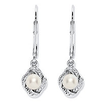 Genuine Freshwater Cultured Pearl and Diamond Accent Scalloped Halo Drop Earrings with Lever Backs in Antiqued .925 Sterling Silver (4mm)