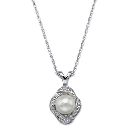 Genuine Freshwater Cultured Pearl and Diamond Accent Scalloped Halo Pendant Necklace in Antiqued .925 Sterling Silver 18