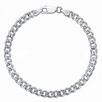"Curb-Link Chain Bracelet with Lobster Clasp in Sterling Silver 7"" (5mm)"
