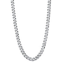 Curb-Link Textured and Polished Chain Necklace with Lobster Clasp in Sterling Silver 20