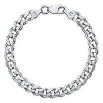 Curb-Link Textured and Polished Chain Bracelet with Lobster Clasp in Sterling Silver 7