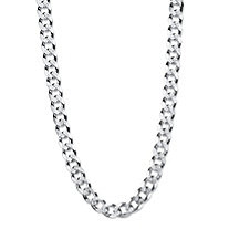 Curb-Link Textured and Polished Chain Necklace with Lobster Clasp in Sterling Silver 24