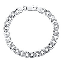Curb-Link Textured and Polished Chain Bracelet with Lobster Clasp in Sterling Silver 8