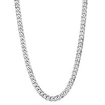 Polished Curb-Link Chain Necklace with Lobster Clasp in Sterling Silver 20