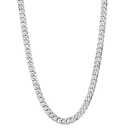 Polished Curb-Link Chain Necklace in Sterling Silver 24