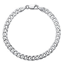 Curb-Link Flat Profile Chain Bracelet with Lobster Clasp in Sterling Silver 7