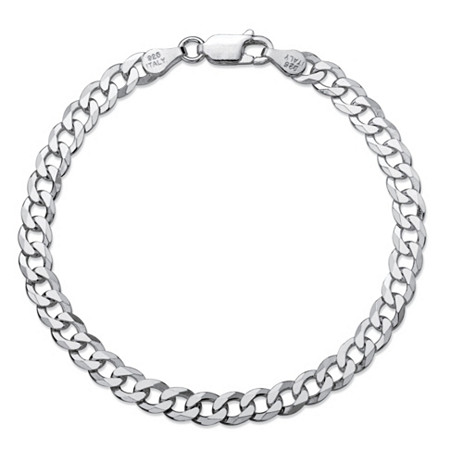 "Polished Curb-Link Chain Bracelet in Sterling Silver 8"" (4.5mm) at PalmBeach Jewelry"