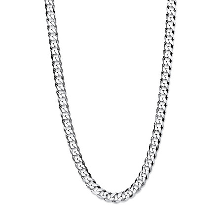 "Curb-Link Flat Profile Chain Necklace in Sterling Silver 24"" (6.5mm) at PalmBeach Jewelry"