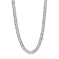 Curb-Link Flat Profile Chain Necklace with Lobster Clasp in Sterling Silver 24
