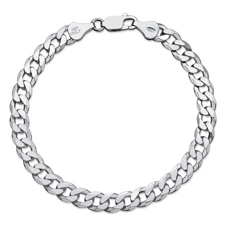 Flat Profile Curb-Link Chain Bracelet in Sterling Silver 8
