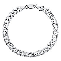 "Flat Profile Curb-Link Chain Bracelet in Sterling Silver 8"" (6.5mm)"