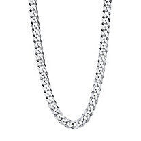 Polished Curb-Link Chain Necklace with Lobster Clasp in Sterling Silver 18