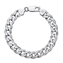 Curb-Link Flat Profile Bracelet with Lobster Clasp in Sterling Silver 9