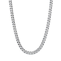 Polished Flat Profile Curb-Link Chain Necklace in Sterling Silver 24