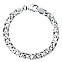 Polished Flat Profile Curb-Link Chain Bracelet in Sterling Silver 8