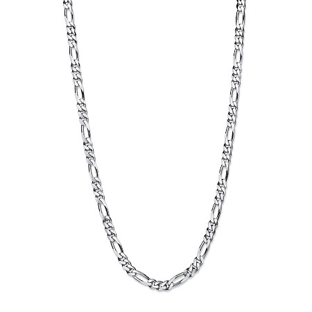 """Polished Figaro-Link Chain Necklace in Sterling Silver 24"""" (4.25mm) at PalmBeach Jewelry"""
