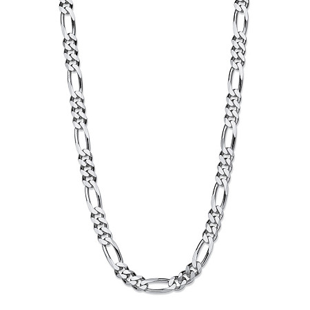 """Polished Figaro-Link Chain Necklace in Sterling Silver 20"""" (6.5mm) at PalmBeach Jewelry"""