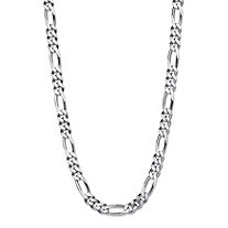 Polished Figaro-Link Chain Necklace with Lobster Clasp in Sterling Silver 24