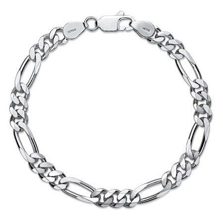 "Polished Figaro-Link Chain Bracelet in Sterling Silver 8"" (6.5mm) at PalmBeach Jewelry"