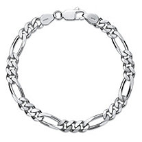 "Polished Figaro-Link Chain Bracelet in Sterling Silver 8"" (6.5mm)"