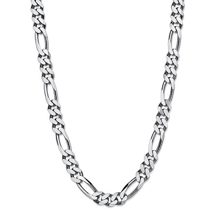 """Polished Figaro-Link Chain Necklace in Sterling Silver 24"""" (7.5mm) at PalmBeach Jewelry"""