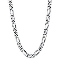 "Polished Figaro-Link Chain Necklace in Sterling Silver 24"" (7.5mm)"
