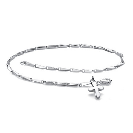 Fancy-Link Sterling Silver Cross Charm Ankle Bracelet with Lobster Clasp 9