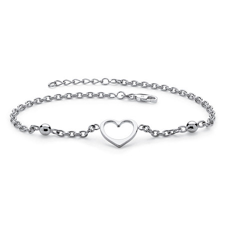 Heart Cutout Charm and Bead .925 Sterling Silver Rolo-Link Ankle Bracelet with Lobster Clasp 10