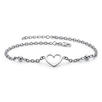 Heart Cutout Charm and Bead .925 Sterling Silver Rolo-Link Ankle Bracelet with Lobster Clasp 10""