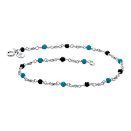 Genuine Onyx and Turquoise Beaded Ankle Bracelet in Sterling Silver 10
