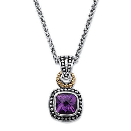 2.70 TCW Cushion-Cut Genuine Purple Amethyst Beaded Two-Tone Pendant Necklace in Antiqued Sterling Silver and 14k Yellow Gold 18