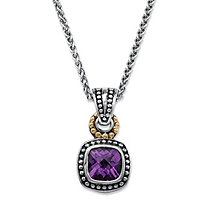 2.70 TCW Cushion-Cut Genuine Purple Amethyst Beaded Two-Tone Pendant Necklace in Antiqued Sterling Silver and 14k Yellow Gold 18""
