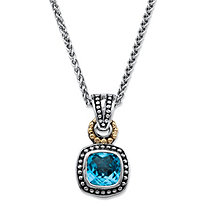 3.40 TCW Cushion-Cut Genuine Sky Blue Topaz Beaded Two-Tone Pendant Necklace in Antiqued .925 Sterling Silver and 14k Yellow Gold Accent 18""