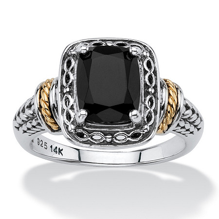 Cushion-Cut Genuine Black Onyx Two-Tone Textured Halo Ring in Antiqued Sterling Silver and 14k Yellow Gold Accents at PalmBeach Jewelry