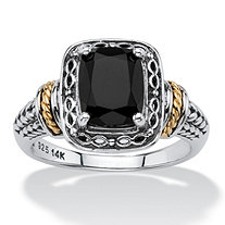 Cushion-Cut Genuine Black Onyx Two-Tone Textured Halo Ring in Antiqued Sterling Silver and 14k Yellow Gold Accents