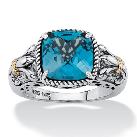 5.40 TCW Cushion-Cut Genuine London Blue Topaz Two-Tone Ring in Antiqued .925 Sterling Silver and 14k Gold Accents at PalmBeach Jewelry