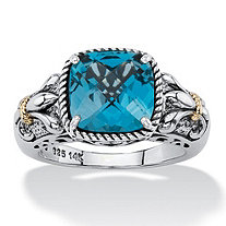 5.40 TCW Cushion-Cut Genuine London Blue Topaz Two-Tone Ring in Antiqued .925 Sterling Silver and 14k Gold Accents
