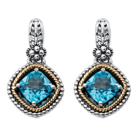 1.98 TCW Cushion-Cut Genuine Sky Blue Topaz Antiqued .925 Sterling Silver and 14k Yellow Gold  Beaded Halo Drop Earrings at PalmBeach Jewelry
