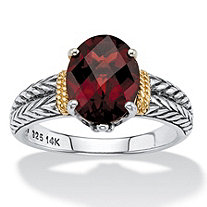 SETA JEWELRY 2.80 TCW Oval-Cut Genuine Red Garnet Two-Tone Laurel Leaf Double Row Ring in Sterling Silver with 14k Yellow Gold Accents
