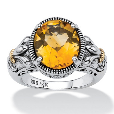 4.20 TCW Oval-Cut Genuine Orange Citrine Two-Tone Ring in Antiqued Sterling Silver and 14k Gold Accents at PalmBeach Jewelry
