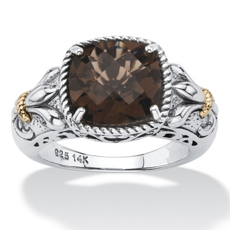 3.30 TCW Cushion-Cut Genuine Smoky Quartz Two-Tone Ring in Antiqued Sterling Silver and 14k Gold Accent at PalmBeach Jewelry