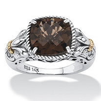 3.30 TCW Cushion-Cut Genuine Smoky Quartz Two-Tone Ring in Antiqued Sterling Silver and 14k Gold Accent