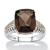 4.48 TCW Cushion-Cut Genuine Smoky Quartz Diamond Accent Ribbed Ring in Antiqued Sterling Silver and 14k Gold Accent