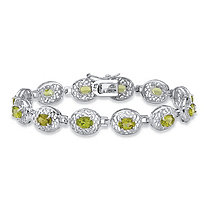 6 TCW Oval-Cut Genuine Green Peridot Filigree Halo Tennis Bracelet in Sterling Silver 7