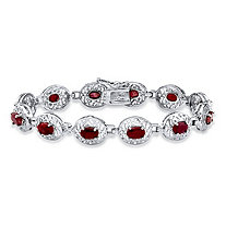 7.20 TCW Oval-Cut Genuine Red Ruby Filigree Halo Tennis Bracelet in Sterling Silver 7