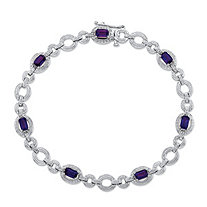 1.68 TCW Emerald-Cut Genuine Purple Amethyst and Diamond Accent .925 Sterling Silver Circle-Link Tennis Bracelet 7.5