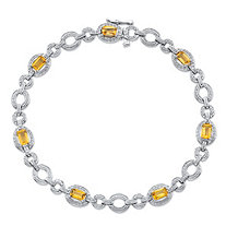 1.68 TCW Emerald-Cut Genuine Citrine and Diamond Accent Circle-Link Tennis Bracelet in Sterling Silver 7.5
