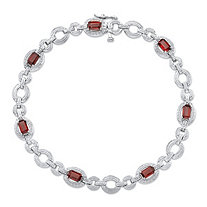 1.82 TCW Emerald-Cut Genuine Red Garnet and Diamond Accent Circle-Link Tennis Bracelet in Sterling Silver 7.5