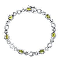 2.03 TCW Emerald-Cut Genuine Green Peridot and Diamond Accent Circle-Link Tennis Bracelet in Sterling Silver 7.5